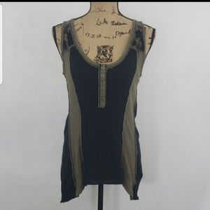 FREE PEOPLE WE THE FREE Olive & Black Lace Tank